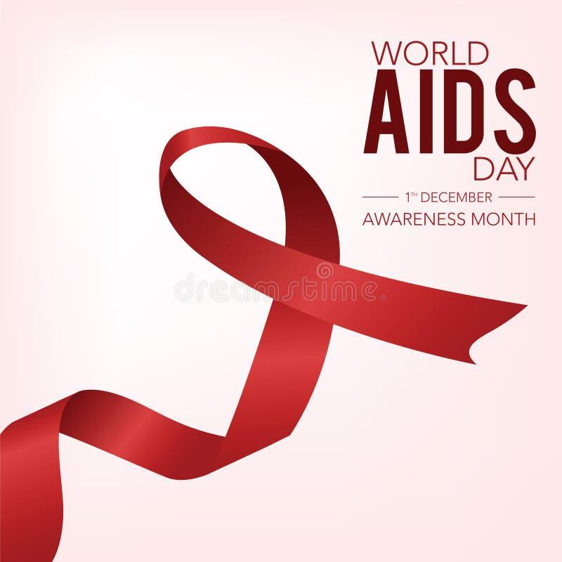 Cinta roja para Día Mundial del Sida el mes de la conciencia del 1 de diciembre stock de ilustración