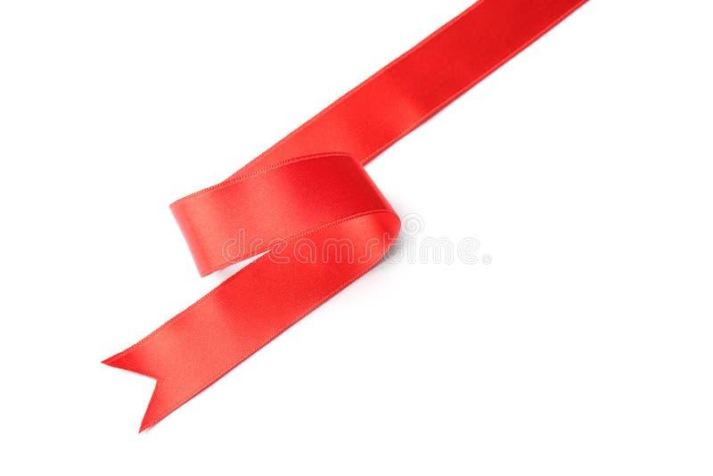Cinta roja simple en la visi?n blanca, superior Decoraci?n festiva foto de archivo libre de regalías