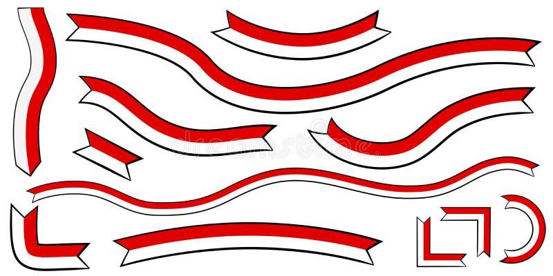 Cinta roja y blanca del color plano del vector simple 12, esquema negro, para el diseño del elemento de la celebración del Día de stock de ilustración