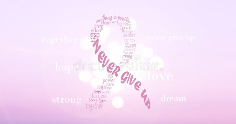 Cinta rosada del cáncer de pecho Imagen de fondo de motivación stock de ilustración