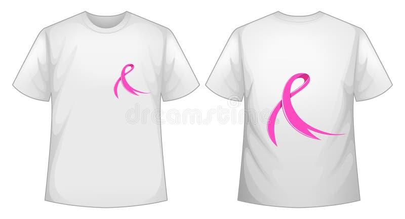 Cinta rosada en el frente y la parte posterior blancos de la camiseta ilustración del vector