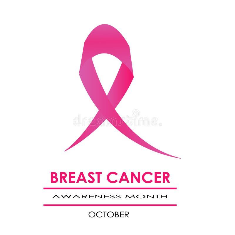 Cinta rosada y el símbolo rosado de la caja para el mes de la conciencia del cáncer de pecho libre illustration