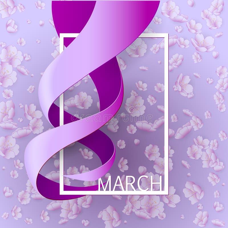Cinta tarjeta de felicitación del 8 de marzo libre illustration