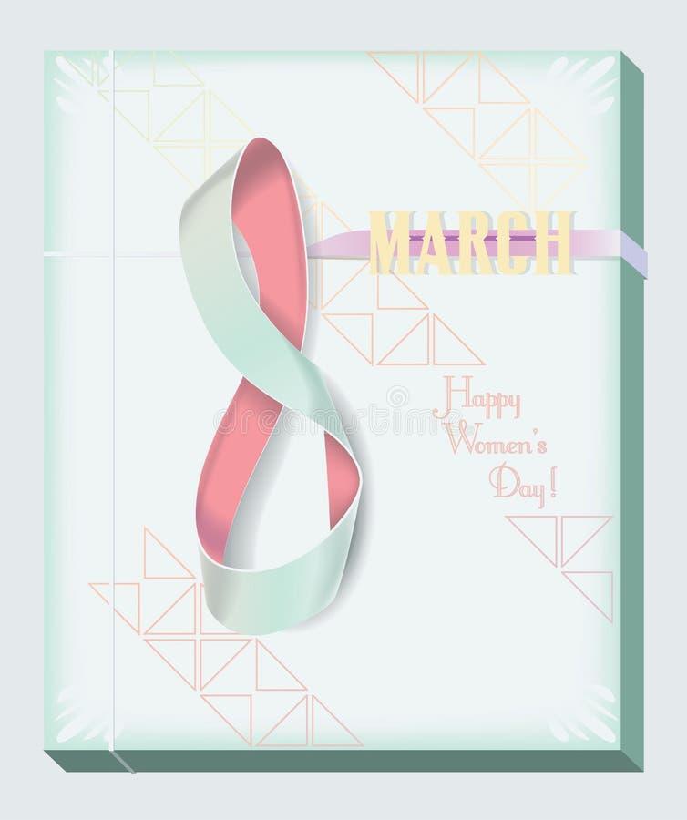 Cinta tarjeta numérica del 8 de marzo stock de ilustración