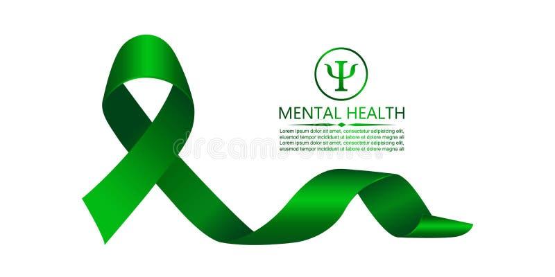 Cinta verde como símbolo de la conciencia de la salud mental stock de ilustración