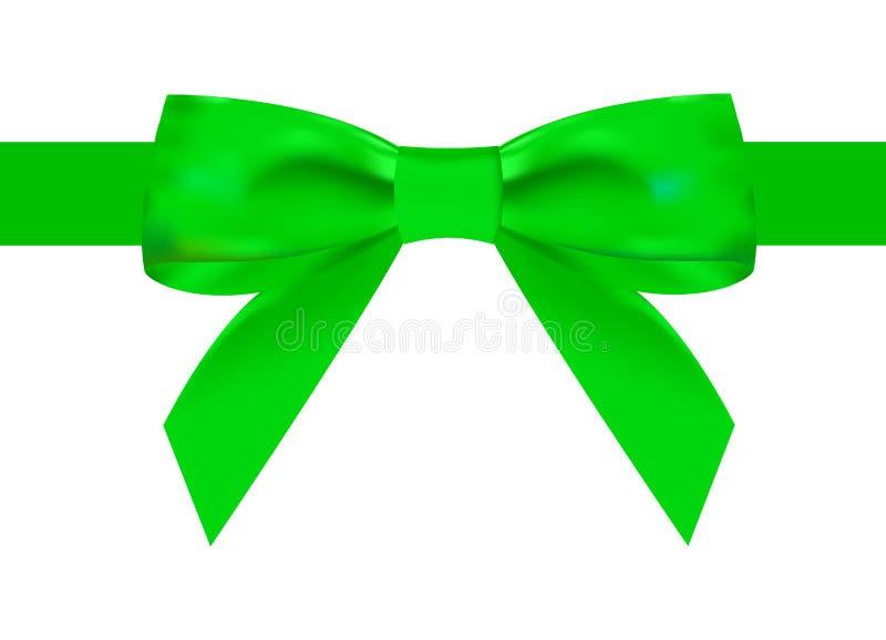 Cinta verde de seda con un nudo hermoso en un fondo blanco Puede ser utilizado para el diseño de regalos, postales, enhorabuena libre illustration