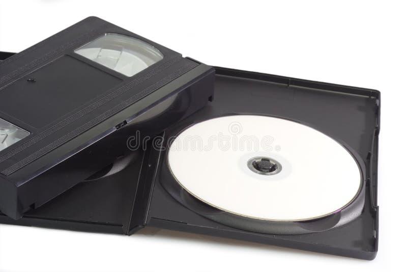 Cinta video y disco versátil digital imágenes de archivo libres de regalías