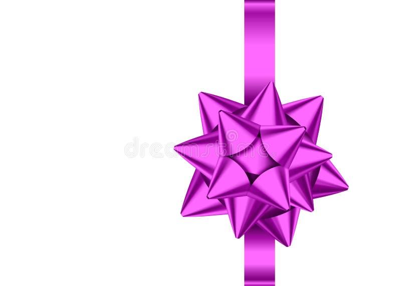 Cinta violeta y arco del regalo del satén aislados en el fondo blanco stock de ilustración