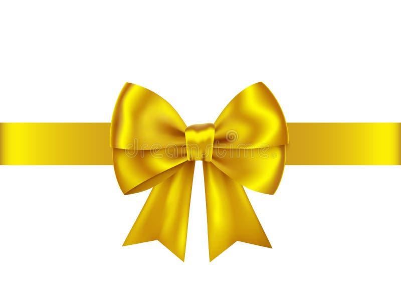 Cinta y arco de oro para la Navidad, decoración del regalo del Año Nuevo stock de ilustración