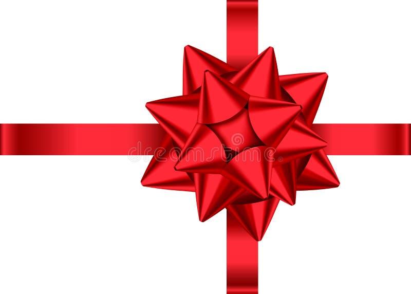 Cinta y arco rojos para la Navidad, decoración del regalo del Año Nuevo ilustración del vector
