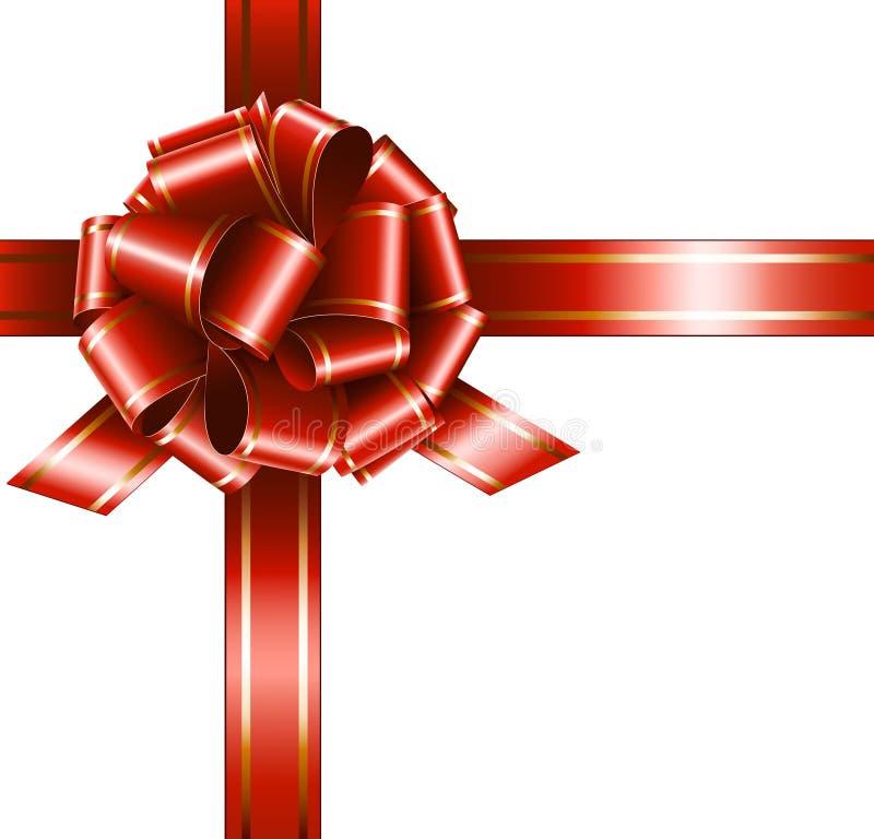 Cinta y arqueamiento rojos del regalo del vector ilustración del vector
