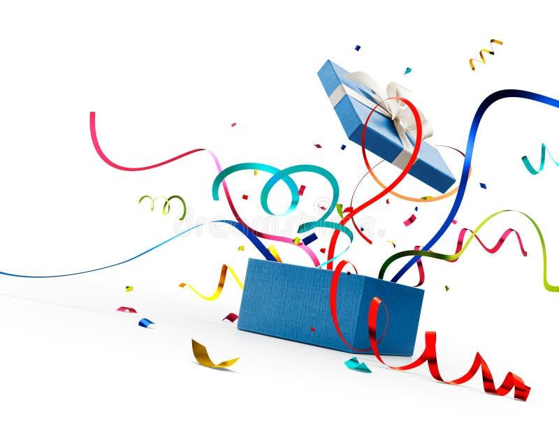 Cinta y confeti haciendo estallar hacia fuera de la caja de regalo azul stock de ilustración