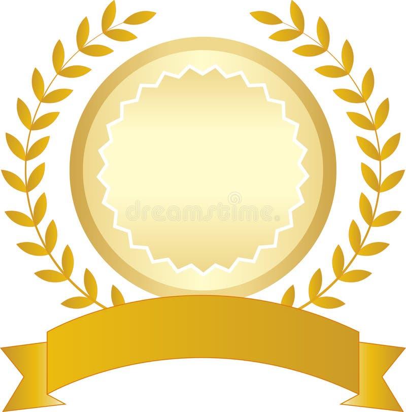 Cinta y laurel de oro stock de ilustración