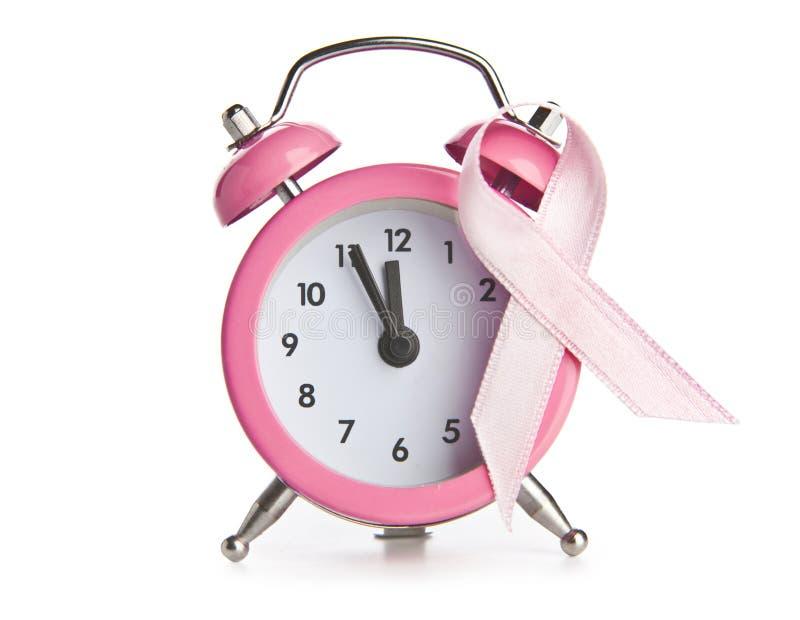 Cinta y reloj rosados del cáncer de pecho foto de archivo