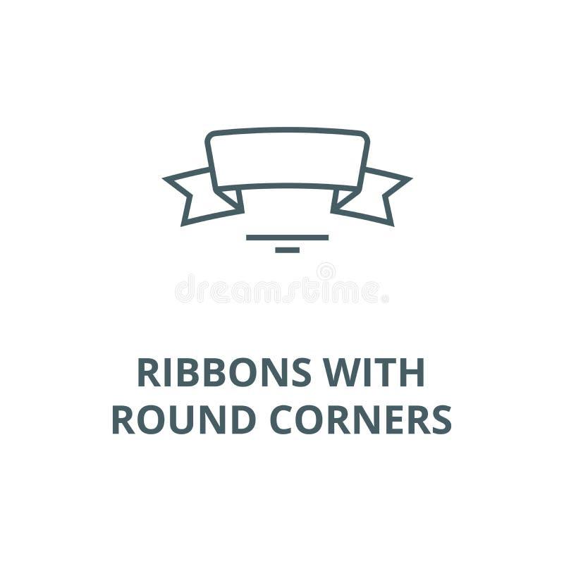 Cintas con la línea icono, concepto linear, muestra del esquema, símbolo del vector de las esquinas redondas libre illustration