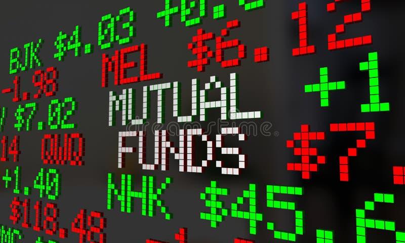 Cintas de cotizaciones bursátiles de los fondos mutuos que enrollan opciones de la inversión ilustración del vector