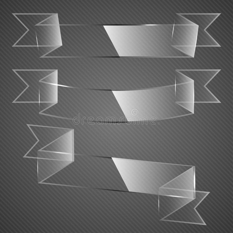 Cintas de cristal en fondo gris. libre illustration