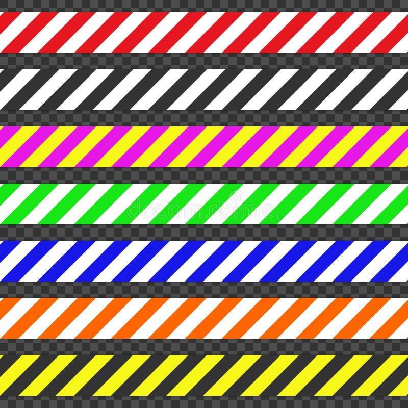 Cintas de la barricada Fije de las cintas para advierten o cogen la atención Cintas que contienen un peligro posible ilustración del vector
