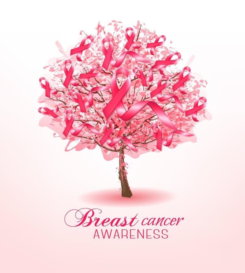 Cintas de la conciencia del cáncer de pecho en un árbol de Sakura ilustración del vector