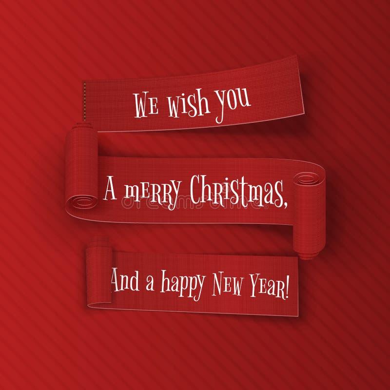 Cintas de la Feliz Navidad y de la Feliz Año Nuevo fijadas stock de ilustración