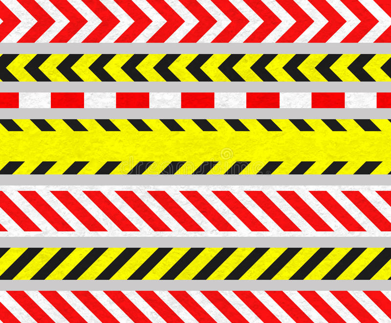 Cintas de la precaución y señales de peligro, rayas INCONSÚTILES ilustración del vector