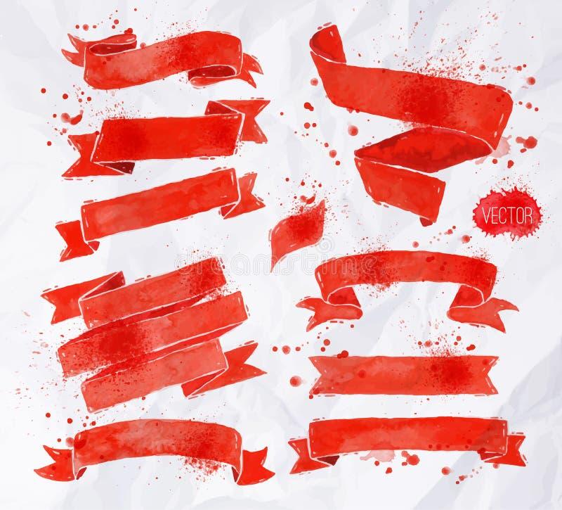 Cintas de las acuarelas rojas stock de ilustración