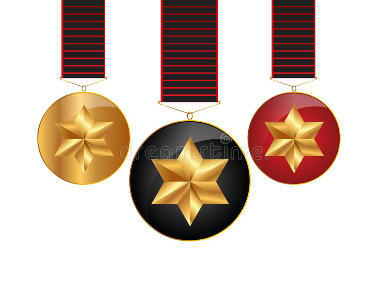 Cintas de las medallas stock de ilustración