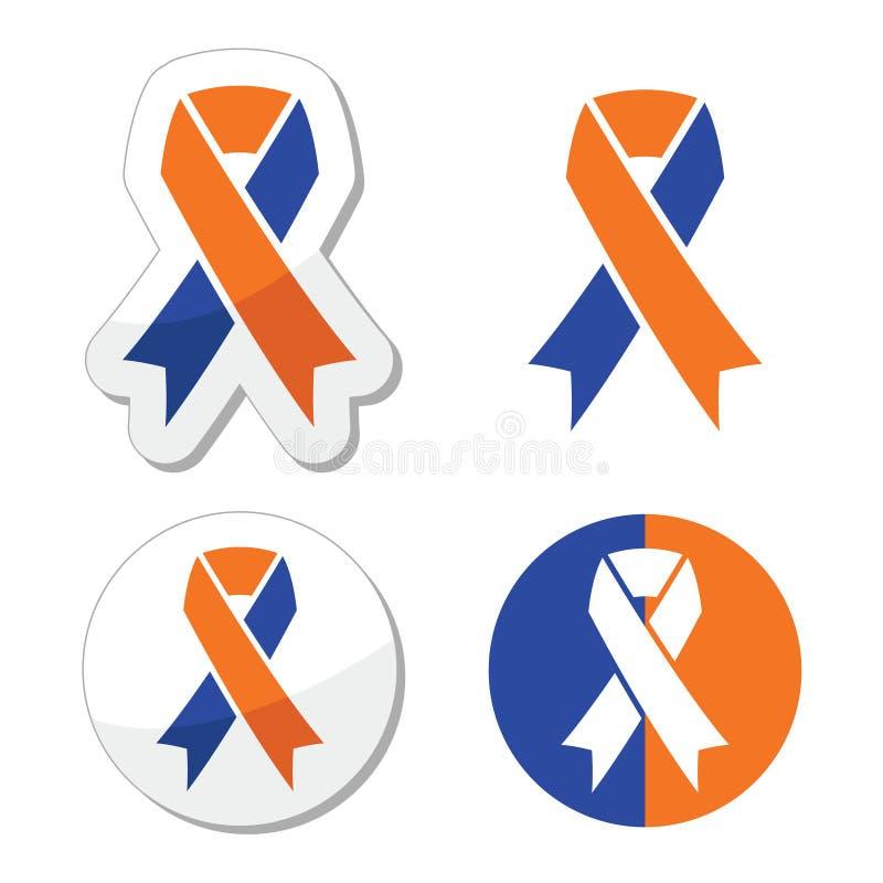 Cintas de los azules marinos y de la naranja - iconos de la conciencia de los cuidadores de familia ilustración del vector