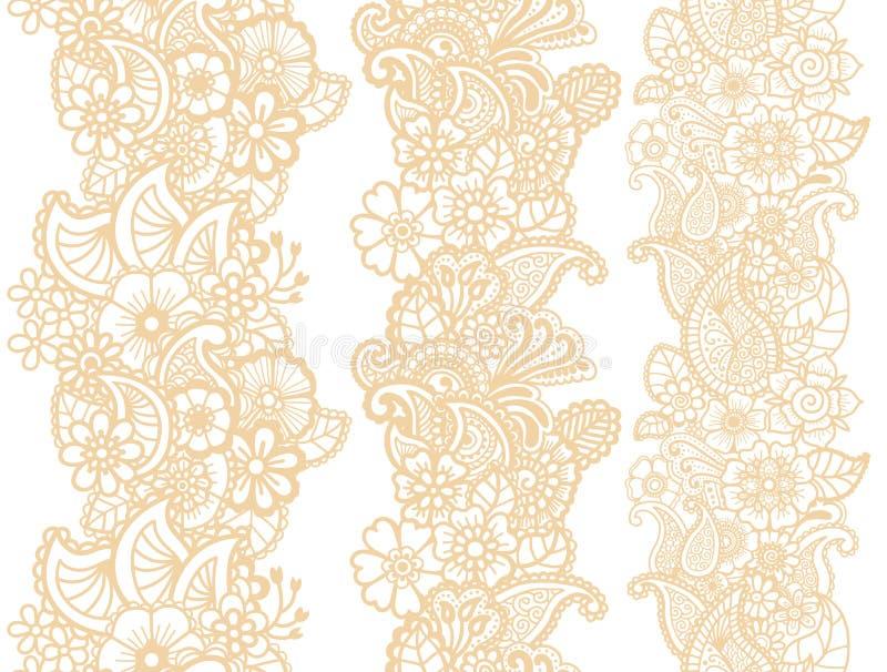 Cintas de Mehndi Diseño de Paisley ilustración del vector