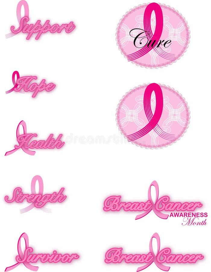 Cintas del cáncer de pecho stock de ilustración