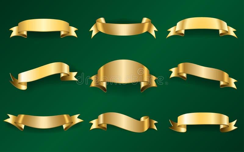 Cintas del oro fijadas en el verde 1 libre illustration