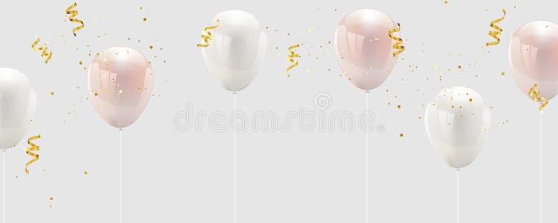 Cintas del rosa y blancas, del confeti y del oro del color de Baloon tarjeta de lujo de los ricos del saludo stock de ilustración