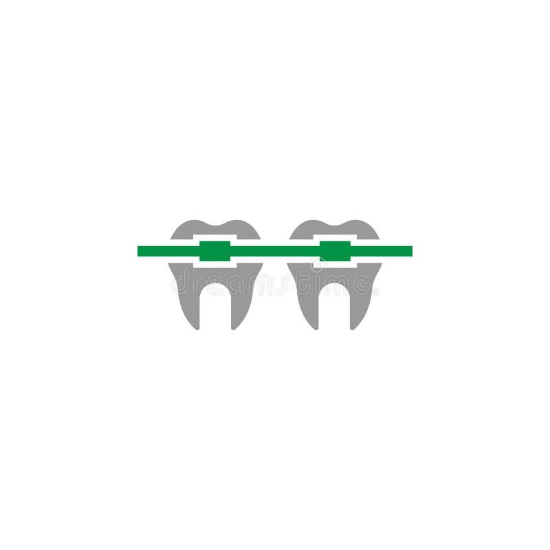 Cintas e ícone ortodôntico Elemento do ícone dos cuidados dentários para apps móveis do conceito e da Web As cintas detalhadas e  ilustração royalty free