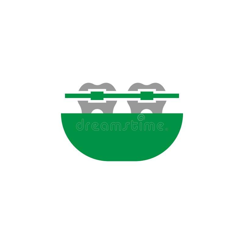 Cintas e ícone ortodôntico Elemento do ícone dos cuidados dentários para apps móveis do conceito e da Web As cintas detalhadas e  ilustração do vetor
