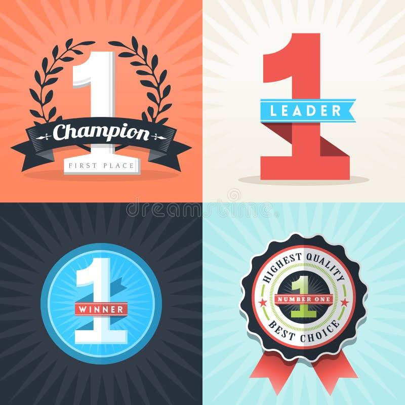 Cintas e insignias planas del ganador del número uno del diseño stock de ilustración
