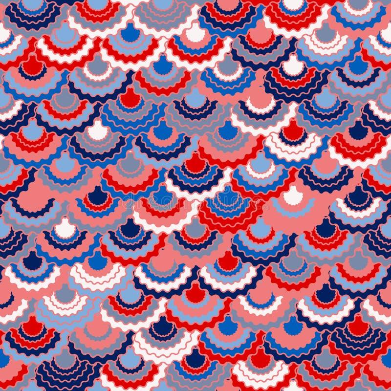 Cintas festivas de la bandera americana que golpean la decoración Fondo blanco azul rojo patriótico de los E.E.U.U. ilustración del vector