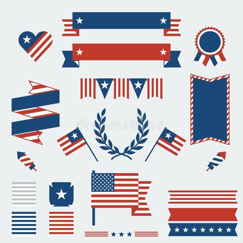 Cintas, insignias y decorativo del Día de la Independencia stock de ilustración