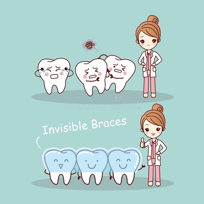 Cintas invisíveis do dente bonito dos desenhos animados ilustração stock