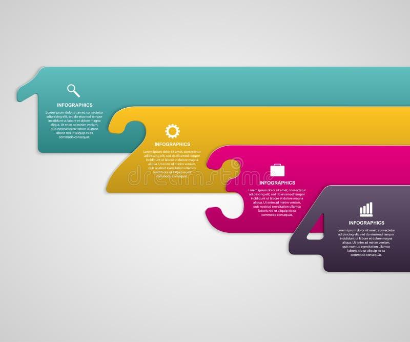 Cintas numeradas coloridas de papel creativas infographic ilustración del vector