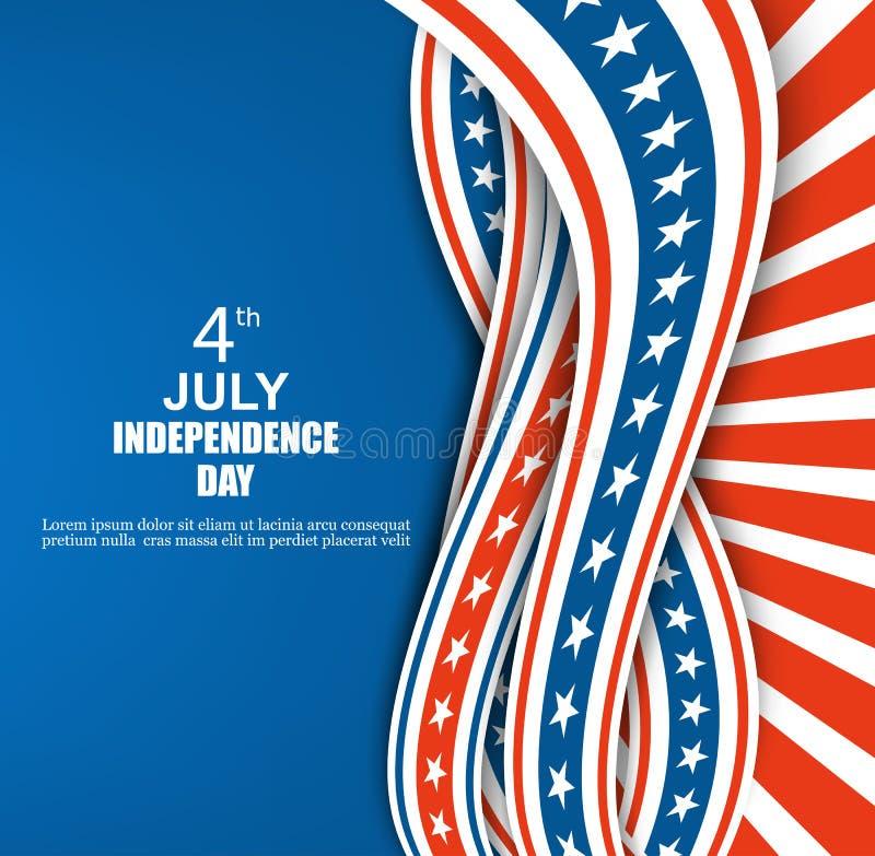Cintas onduladas del rojo, azules y blancas con las estrellas en fondo azul del Día de la Independencia del fondo ilustración del vector