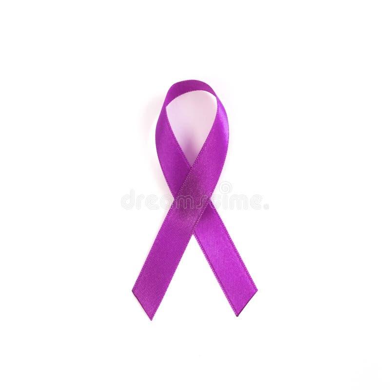 Cintas púrpuras de la conciencia del cáncer común para el símbolo del testicul fotografía de archivo libre de regalías