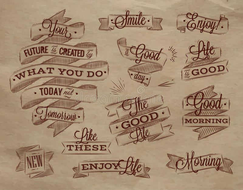 Cintas que ponen letras a Kraft libre illustration