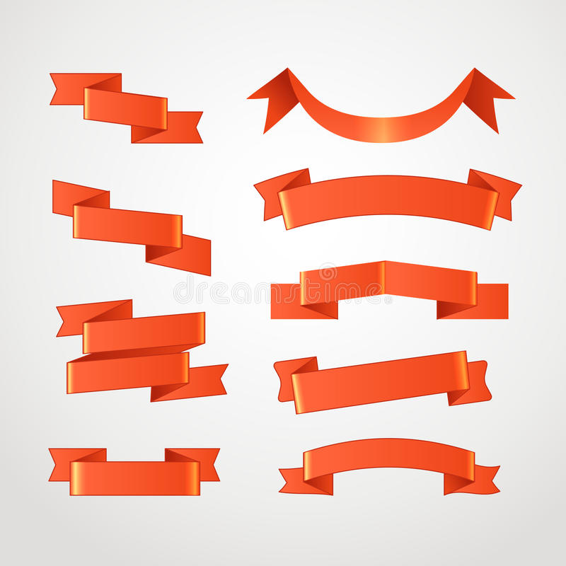 Cintas rojas de diverso estilo retro fijadas ilustración del vector