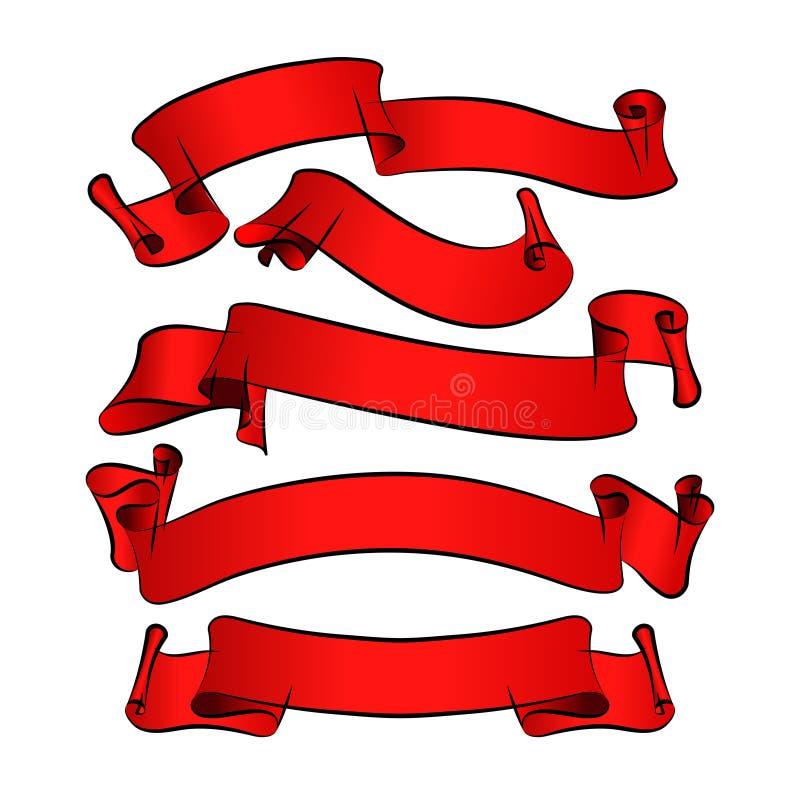 Cintas rojas del vector para su projec del diseño stock de ilustración