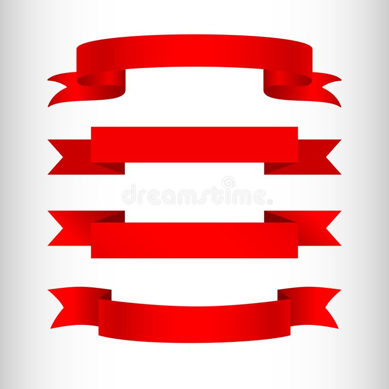 Cintas rojas en un elemento aislado fondo ligero del diseño de hacer publicidad los carteles de las banderas un sistema de las ci stock de ilustración