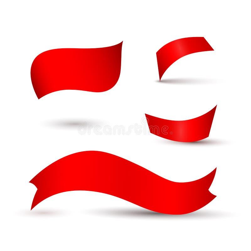 Cintas rojas, etiquetas en un elemento aislado fondo ligero del diseño de hacer publicidad los carteles de las banderas un sistem stock de ilustración
