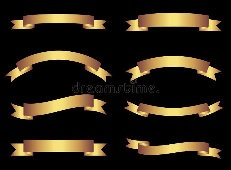 Cintas y banderas del vector del oro en fondo negro, elementos de oro del diseño gráfico para los folletos y páginas web libre illustration