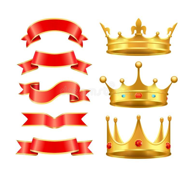 Cintas y ejemplo del vector del sistema de los iconos de las coronas libre illustration