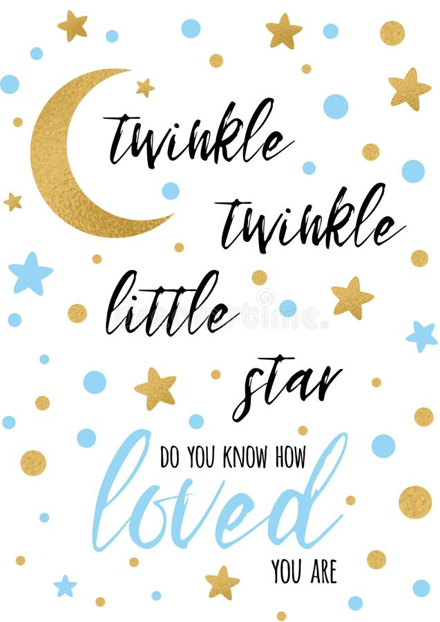 Cintilação da cintilação pouco texto da estrela com oranment dourado e estrela azul para o molde da bandeira da festa do bebê do  ilustração do vetor