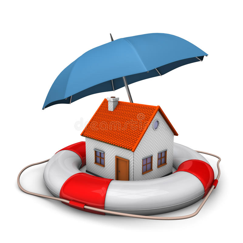 Cinto de salvação do guarda-chuva da casa ilustração stock
